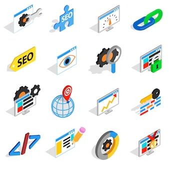 Seo-pictogrammen in isometrische 3d stijl worden geplaatst die. web vastgestelde inzameling geïsoleerde vectorillustratie