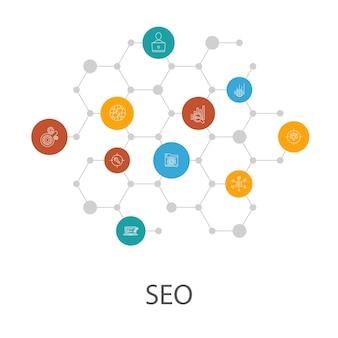 Seo-presentatiesjabloon, omslaglay-out en infographics. zoekmachine, doelzoekwoorden, webanalyse, seo-bewakingspictogrammen