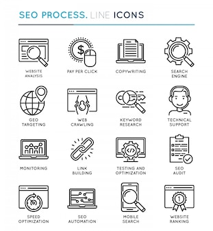 Seo search engine optimization-proces dunne lijn icon set.