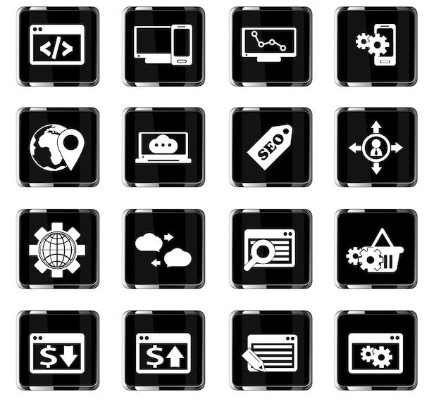 Seo-vectorpictogrammen voor ontwerp van gebruikersinterface