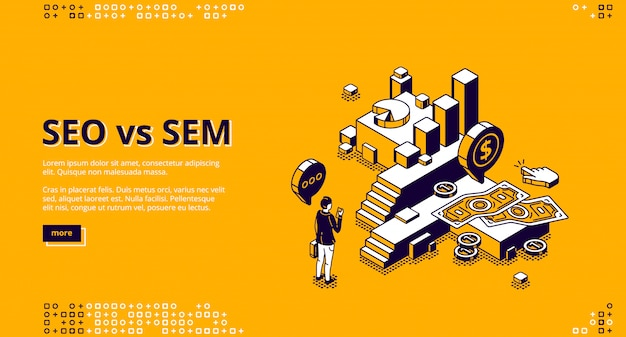 Seo vs sem isometrische landing, digitale marketing