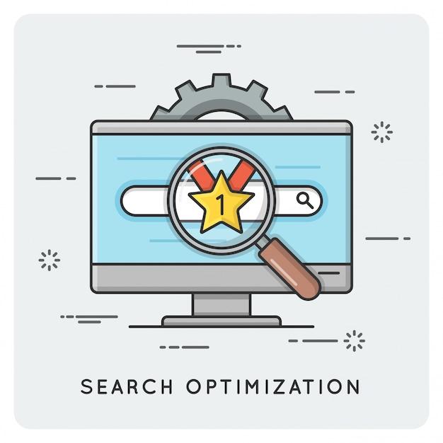 Seo. zoek optimalisatie. dunne lijn .