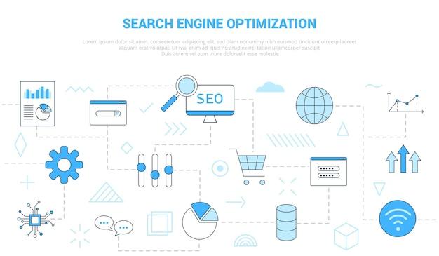 Seo zoekmachine optimalisatie concept met vaste sjabloon