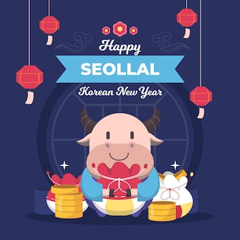 Seollal koreaans nieuwjaar in plat ontwerp