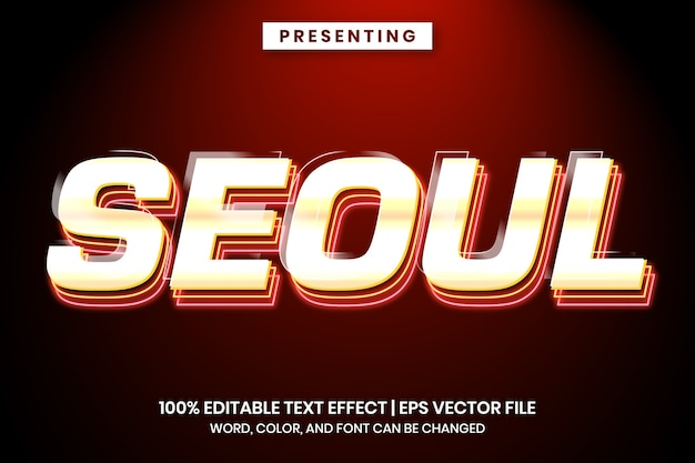 Seoul metallic en neonlicht teksteffect