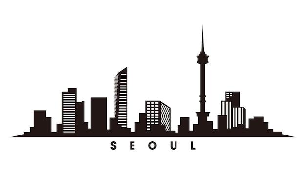 Seoul skyline silhouet vector