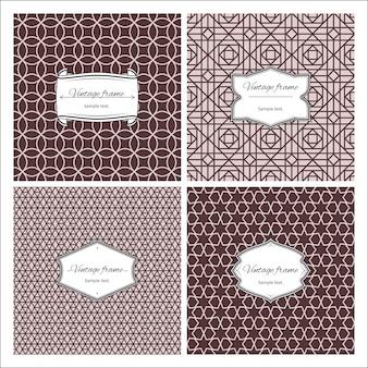 Sepia kleuren naadloze patronen met frames