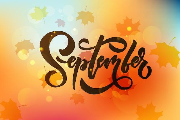 September belettering typografie moderne september kalligrafie vector illustratie getextureerde achtergrond