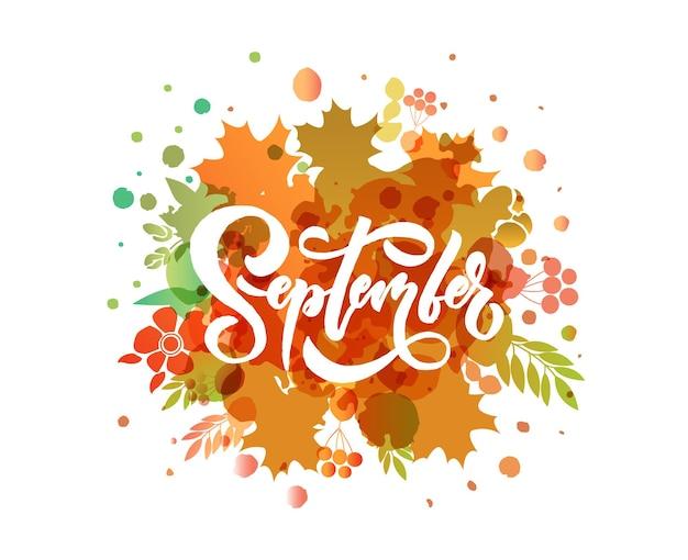 September belettering typografie moderne september kalligrafie vector illustratie o achtergrond