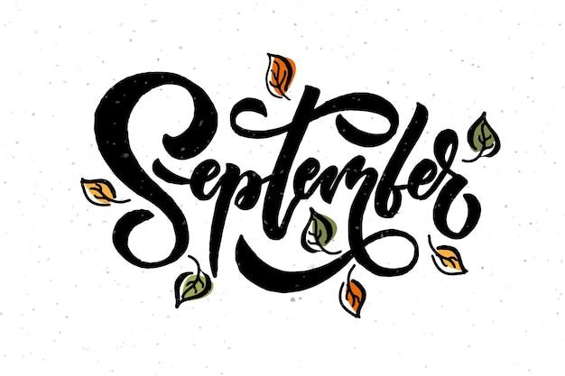 September belettering typografie moderne september kalligrafie vector illustratie textuur achtergrond