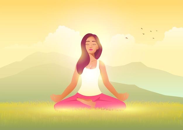 Sereniteit in de natuur, mooie vrouw die mediteert in de natuur, cartoonvector in eps 10-formaat