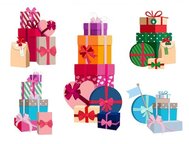 Serie van geschenken in verschillende kleurrijke pakketten met linten. vector set van verrassingsdozen