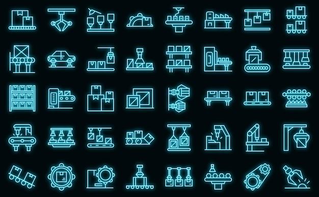 Seriële productie pictogrammen instellen vector neon