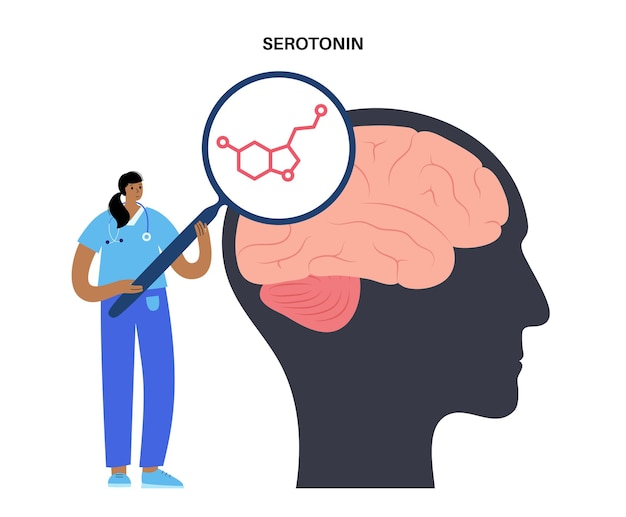 Serotonine formule icoon. monoamine neurotransmitter. modulerende stemming poster platte vectorillustratie