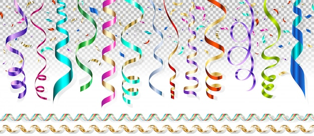 Serpentijn van verschillende kleuren en vliegende confetti op een transparante achtergrond.