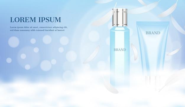 Serum en schuim met wolk en kleine veren op lichtblauwe achtergrond