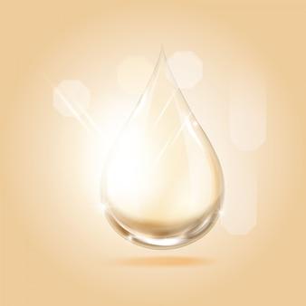 Serum gouden druppel voor schoonheid en cosmetisch concept