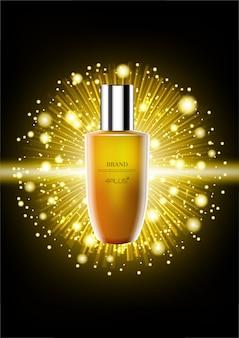 Serum met glanzende lichte ballen en gouden stralende straal op donkere achtergrond