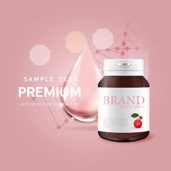 Serum roze druppel voor schoonheid en cosmetisch concept
