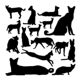 Serval kat dierlijke silhouetten