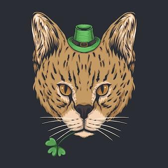 Serval kat voor st. patrick's day Premium Vector