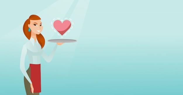 Serveerster die een dienblad met een hart draagt.
