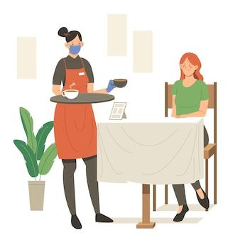 Serveerster dragen gezichtsmasker en serveren