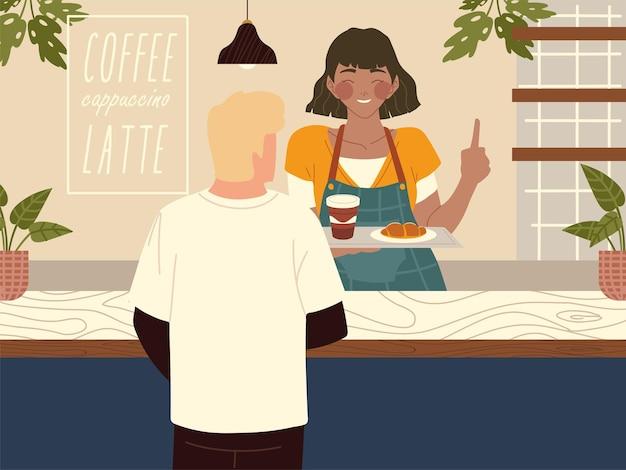 Serveerster in de coffeeshop serveert illustratie van de klant