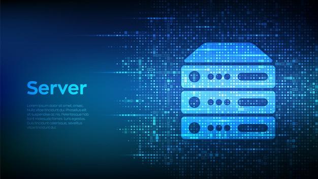 Server- en gegevensopslagachtergrond. pictogram van de computerserver gemaakt met binaire code. s