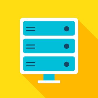 Server icoon. vector illustratie vlakke stijl item met lange schaduw. gegevensanalyse.
