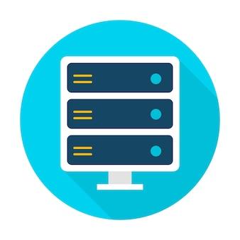Server-item. vector illustratie vlakke stijl cirkel pictogram met lange schaduw. gegevensanalyse.