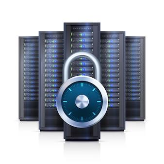 Server rack lock realistische geïsoleerde illustratie