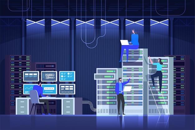 Server ruimte. systeem administratie. controle centrum. it-technologie