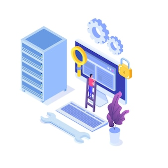 Server van it-beheerders, werknemer in datadienst