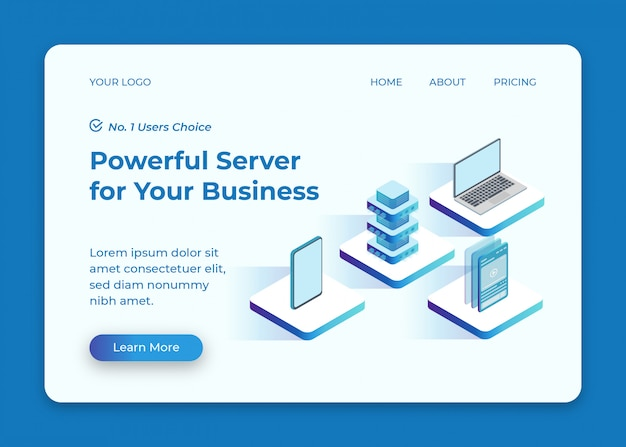 Server verbonden met telefoon en laptop isometrische illustratie