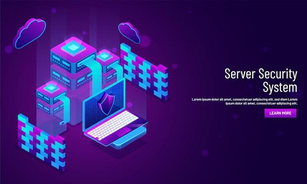 Serverbeveiligingssysteem conceptgebaseerd bestemmingspagina-ontwerp.