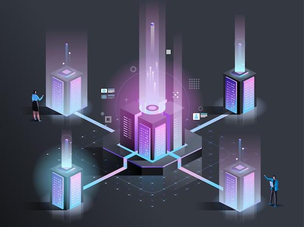 Serveronderhoud, ondersteuning isometrische illustratie. datacenter technici 3d stripfiguren. systeembeheer, hardware onderhoud. diagnostische test, technische ondersteuning donkere kleur concept