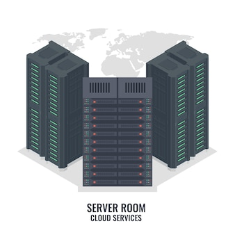 Serverrek op wereldkaartachtergrond, de serverruimte van het gegevenscentrum