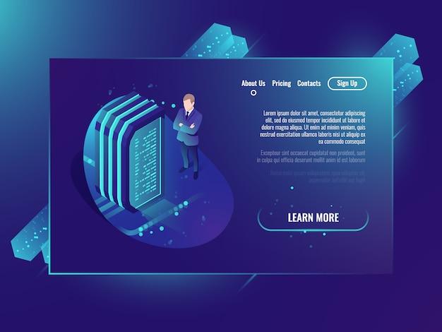 Serverruimte, cloudopslagbestanden, futuristisch datacenter en netwerk