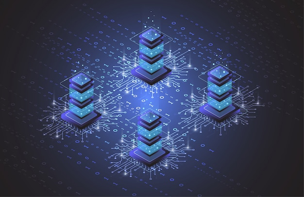 Serverruimte isometrisch, cloudopslaggegevens, datacenter, big data-verwerking