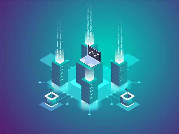 Serverruimte rack, blockchain-technologie, token api-toegang, datacenter, cloudopslag, data-uitwisselingsprotocol,