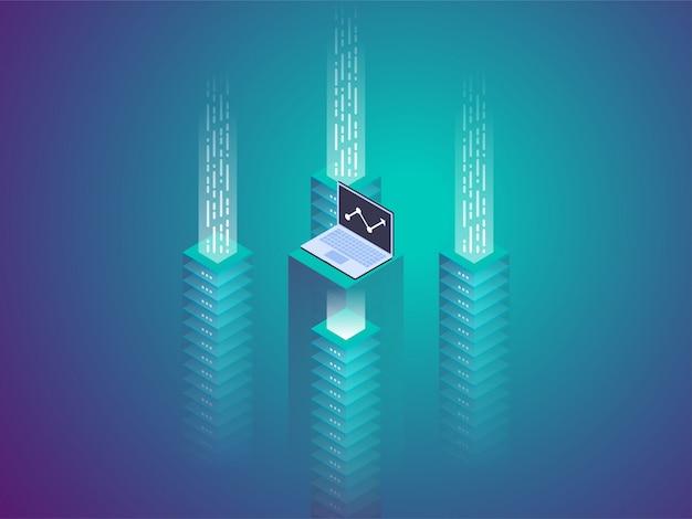Serverruimte-rack, blockchain-technologie, token api-toegang, datacenter, cloudopslagconcept, protocol voor gegevensuitwisseling.