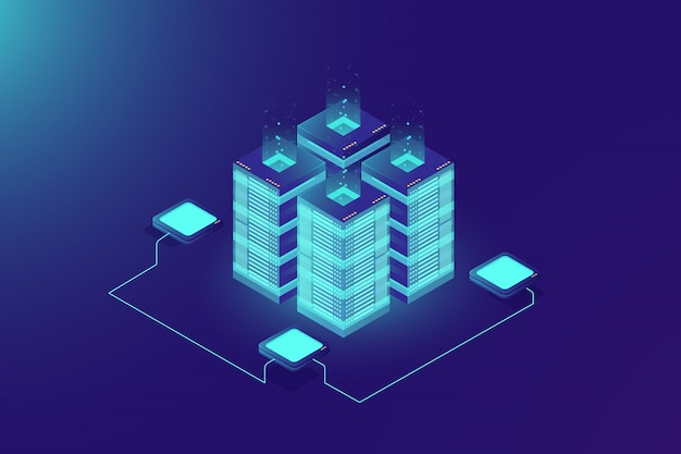Serverruimte-rack, blockchain-technologie, token api-toegang, datacenter