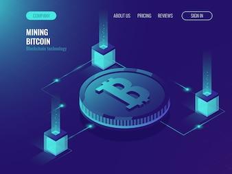 Serverruimte voor het delven van crypto-valuta bitcoin, computertechnologie webpagina