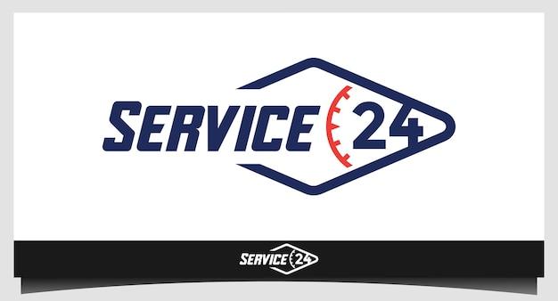Service 24 twintig uur logo-ontwerp