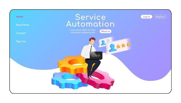 Service automatisering bestemmingspagina egale kleur vector sjabloon. man zit op de lay-out van de homepage van versnellingen. crm-systeem één pagina website-interface, stripfiguur. bedrijfsoptimalisatie webbanner, webpagina