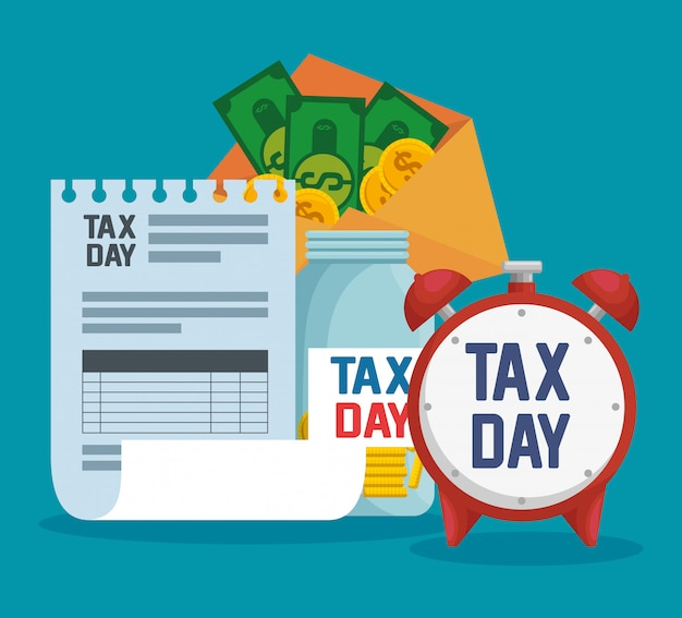 Service belastingrapport met munten en biljetten