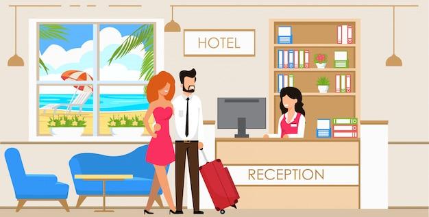 Service bij de receptie van het hotel.