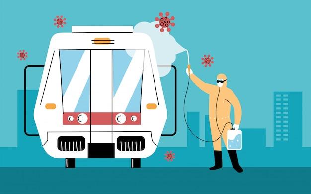 Service metro desinfectie door coronavirus of covid 19