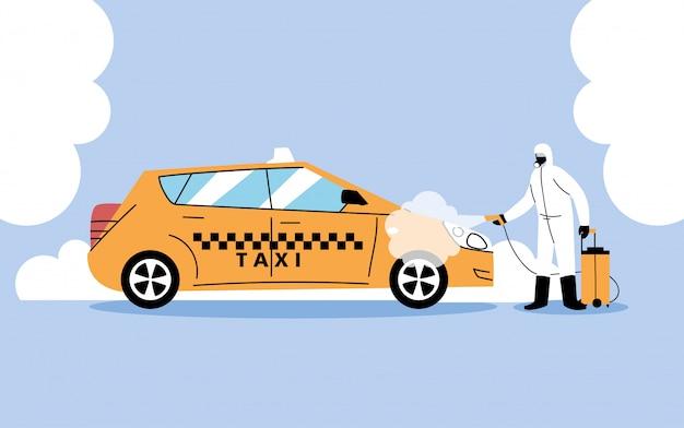 Service taxi desinfectie door coronavirus of covid 19